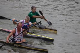 During the K1 event - the top three canoes in Rob's race