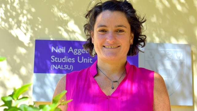 Dr Laura Alfers outside NALSU