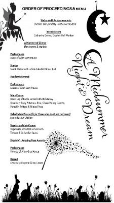 Welcome Dinner Menu and Programme