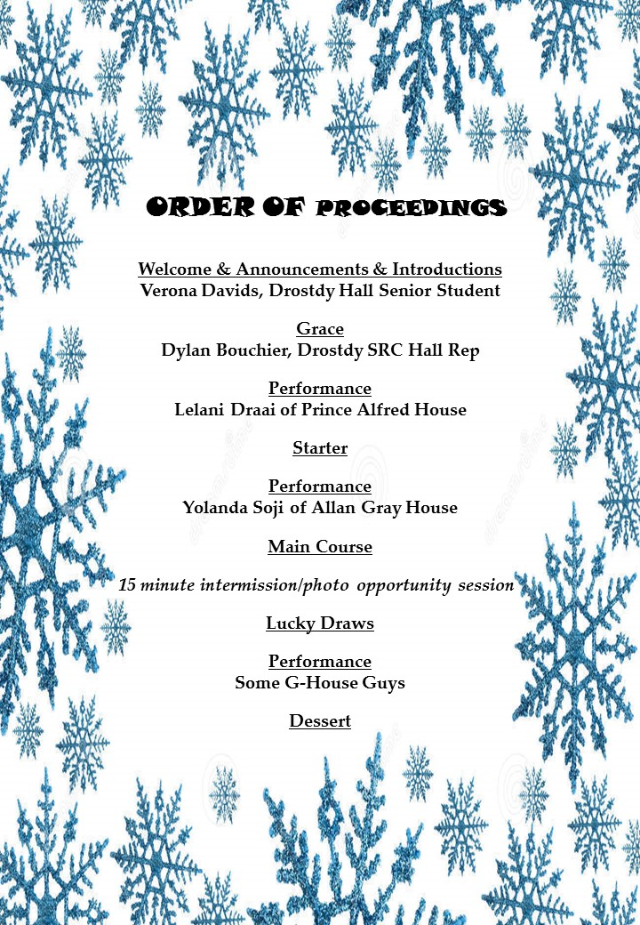 Dinners 2015 - Welcome - order of proceedings