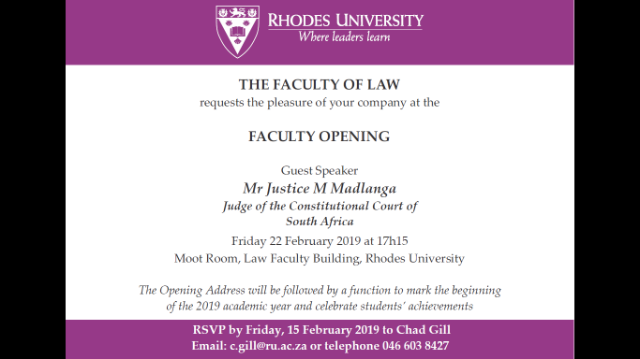 Faculty Opening Invitation