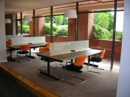 PG Commons study tables with power outlets