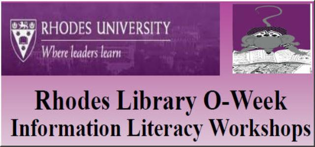Rhodes Library O-Week Information Literacy Workshops