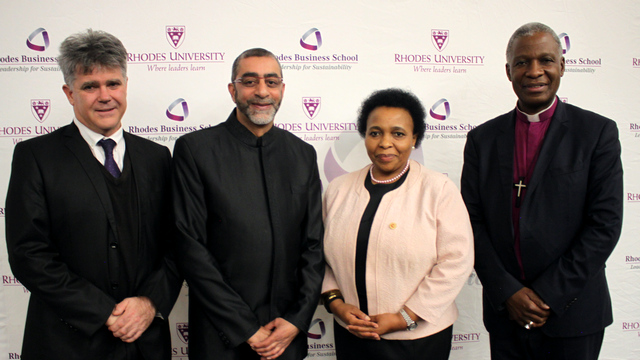 Director of Rhodes Business School, Prof Skae; Founder of Gift of the Givers, Dr Imtiaz Sooliman; DVC of Academic & Student Affairs, Dr 'Mabokang Monnapula-Mapesela; and Archbishop Thabo Makgoba.