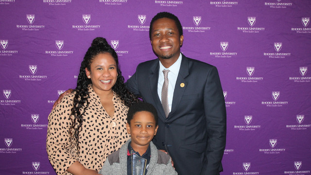 Mr Popo Mfubu and his family at the Distinguished Alumni Awards luncheon