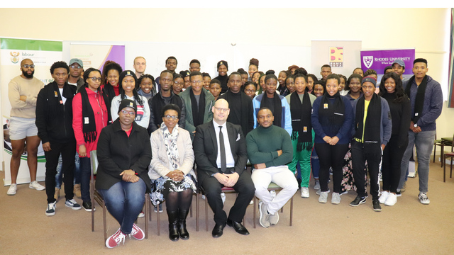 Officials from BANKSETA, Rhodes University, Department of Labour and the bursary recipients