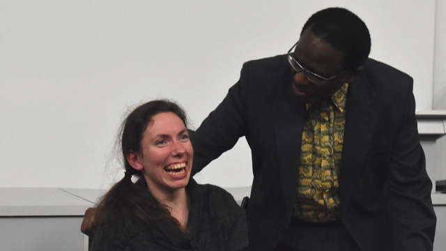 Ability activist Chaeli Mycroft with Vice-Chancellor, Dr Sizwe Mabizela