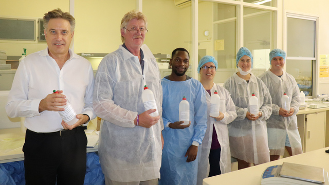 Together we can!:  From left: Deputy Vice Chancellor  for Research and Development Peter Clayton, Professor of Pharmaceutics Prof Rod Walker, Post Graduate students, Privilege Mazonde, Alyson Bennett, Danielle Walker ( Rhodes Golf Club ) and Cameron Heathfield ( Rhodes Golf Club).