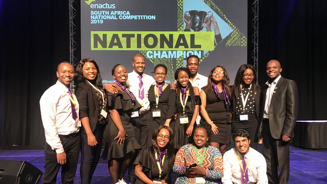 Rhodes University team with trophy at Enactus National Championship
