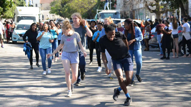 "Drama students and various local organisations brought High Street to a standstill on 22 August 2019 with a ""flash mob"" to raise awareness of the drought and critical lack of water in Makhanda."