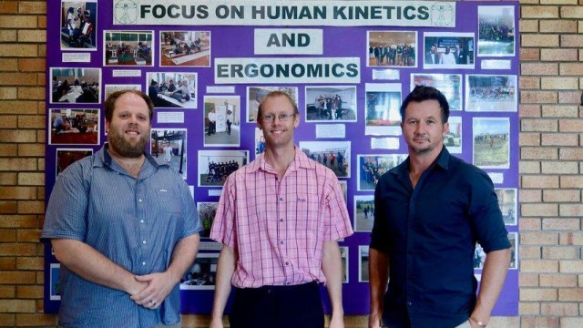 Mr Ben Ryan, Mr Andrew Todd and Dr Jonathan Davy from the Rhodes University Department of Human Kinetics and Ergonomics are the VC's Distinguished Community Engagement Awardees for 2019