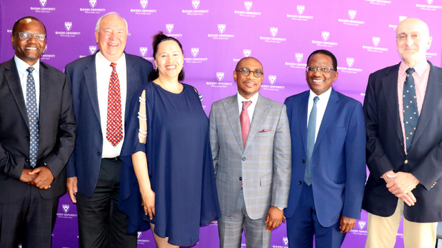 [L-R] Chairperson of the BoG Mr Andile Sangqu; outgoing board member Mr Royden Vice; Registrar, Dr Adele Moodly; Chairperson of Rhodes University Council, Mr Vuyo Kahla; Vice-Chancellor, Dr Sizwe Mabizela; and outgoing Chairperson, Mr Mike Spicer.