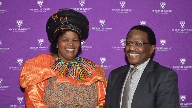 Mrs Mnyungula (35 years of service) with Vice-Chancellor, Dr Sizwe Mabizela