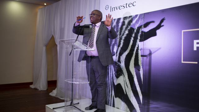 Investec representative, Mr Manchidi, at last year's award and welcome evening at Rhodes University
