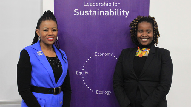 Distinguished alumna, Johanna Mukoki, with PGDip Enterprise Management student, Athulile Lisa