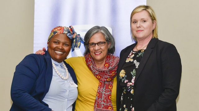 Local ECD Forum chairperson, Pamella Sandi, Standard Bank sponsorship head, Dianne Graney, and Standard Bank's head of retail and business banking in the Sarah Baartman District Head, Leigh-Anne De Witt, at the Standard Bank #SnapForWater handover
