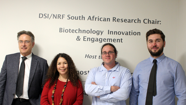 (L-R): Dr Peter Clayton, DVC of Research and Innovation at Rhodes University; Professor Janice Limson, Director of RUBIC; Dr Ronen Fogel, Collaborator at RUBIC; and Mathias Devi, Youth and Innovation Specialist at UNICEF.