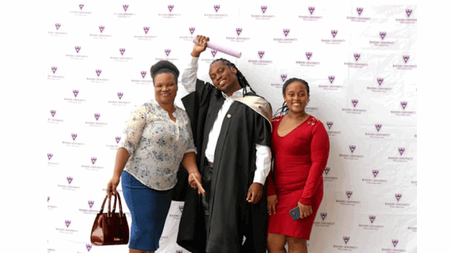 Zolani Bethela, with his proud mother Mvulakazi and younger sister,